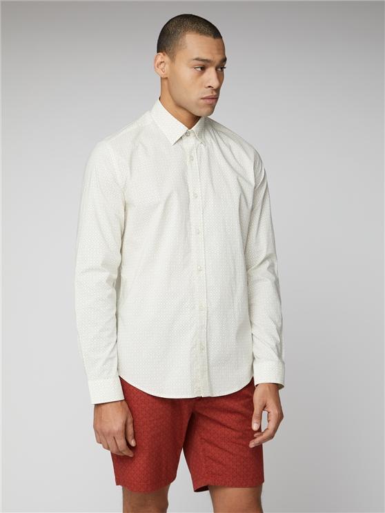 White Geo Print Shirt