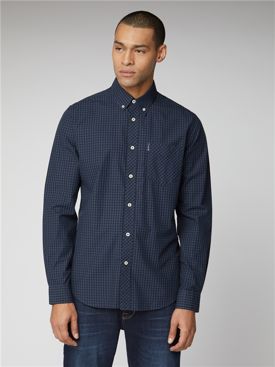 Signature Blue & Grey Mod Fit Gingham Shirt