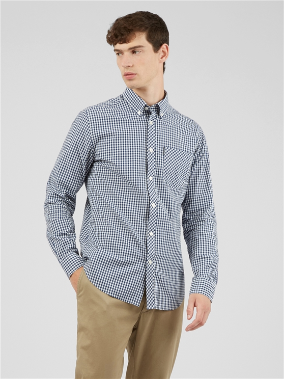 Signature Blue & White Mod Fit Gingham Shirt
