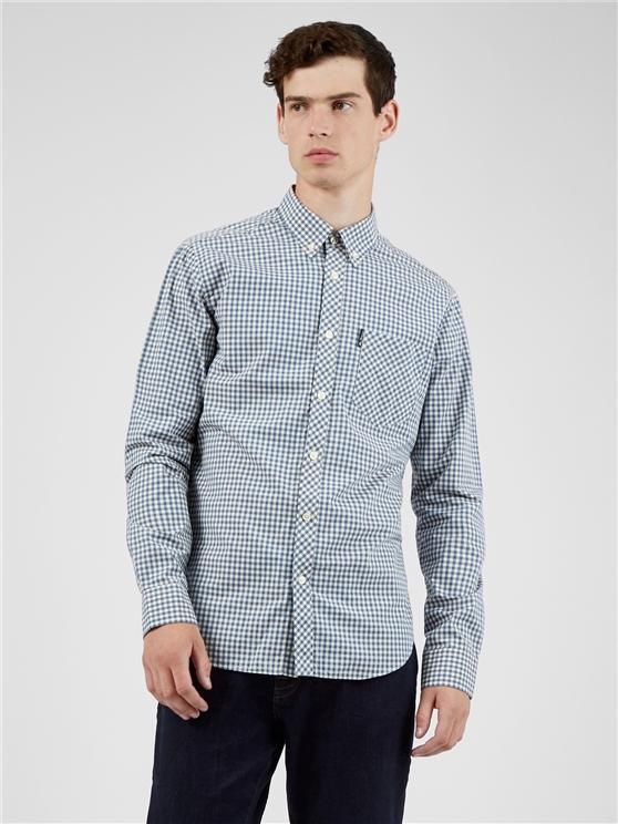 Long Sleeved Persian Blue Signature Gingham Shirt