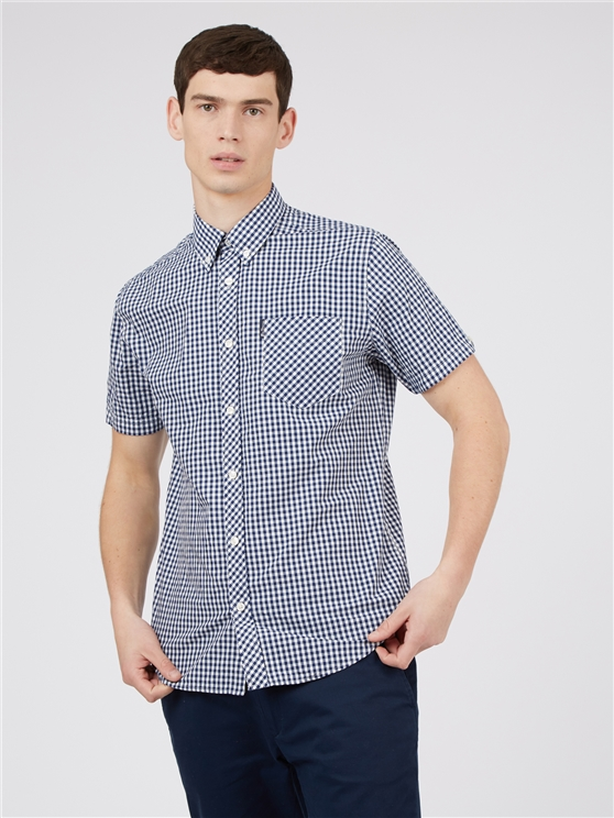 Blue Short Sleeve Button Down Gingham Shirt
