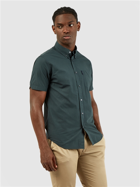 Short Sleeved Dark Green Signature Gingham Shirt