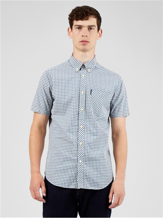 Short Sleeved Persian Blue Signature Gingham Shirt