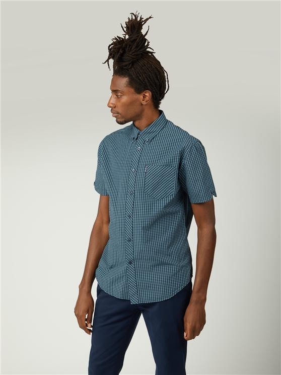 Sea Blue Short Sleeve Button Down Gingham Shirt