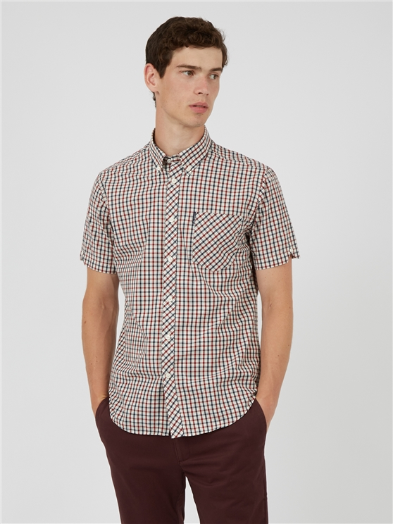 Red and Blue Short Sleeve House Check Shirt
