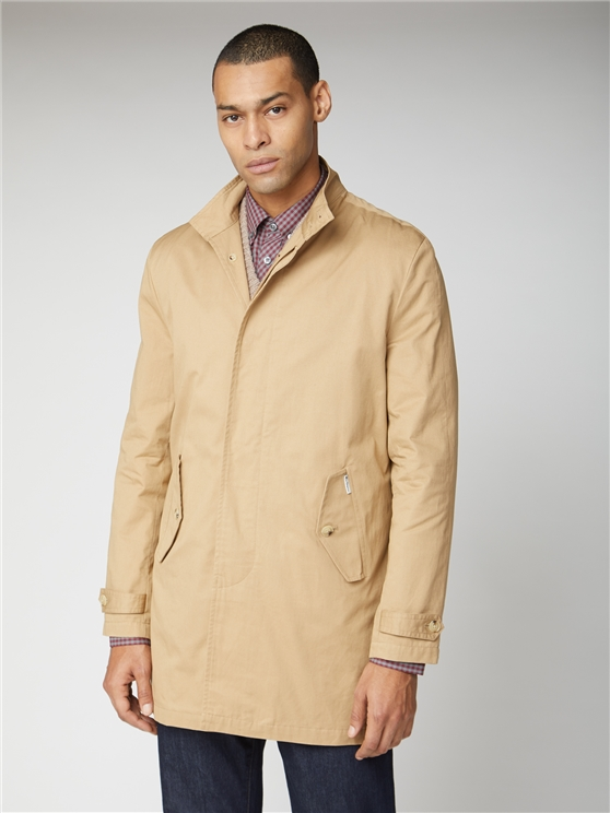 Beige Harrington Style Button Up Mac