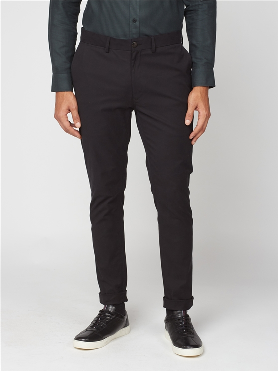 Black Signature Skinny Fit Stretch Cotton Chinos