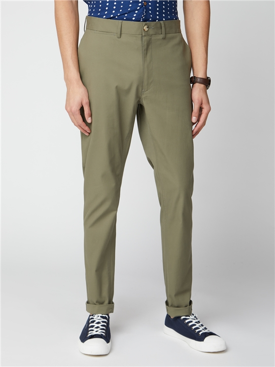 Olive Green Signature Skinny Fit Stretch Cotton Chinos