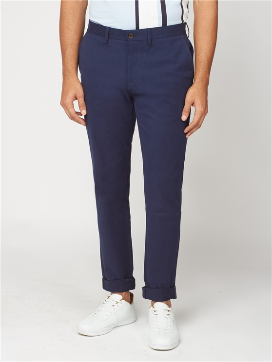 Navy Blue Slim Stretch Cotton Chinos