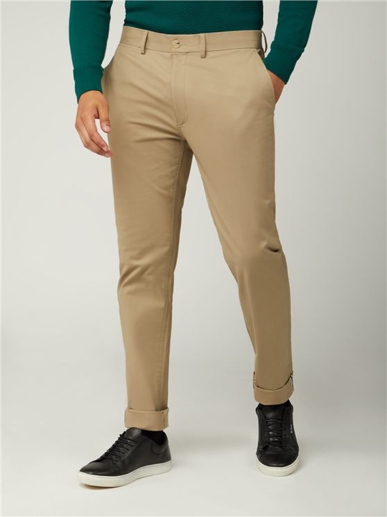 Stone Beige Slim Stretch Cotton Chinos