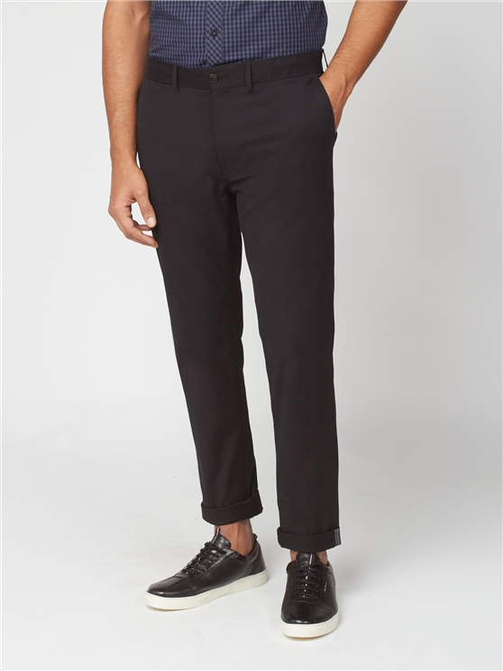 Black Slim Stretch Cotton Chinos