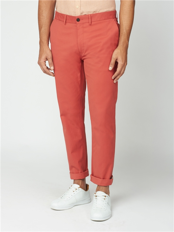 Teracotta Red Slim Stretch Cotton Chinos