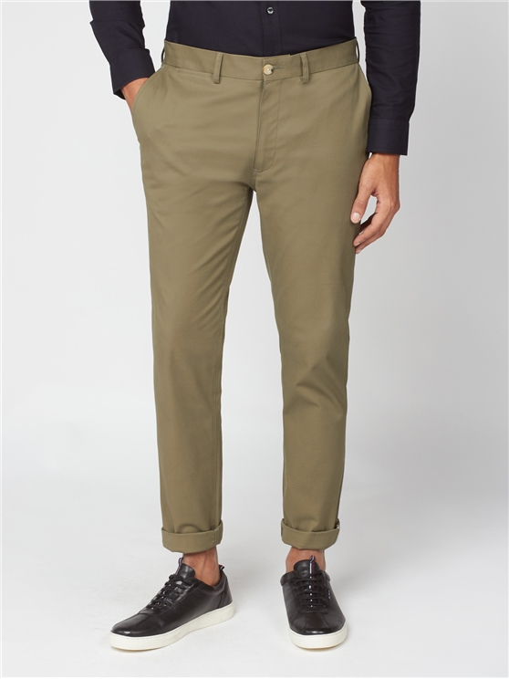 Olive Green Slim Stretch Cotton Chinos