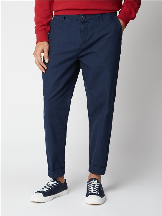 Navy Relaxed Canvas Trousers