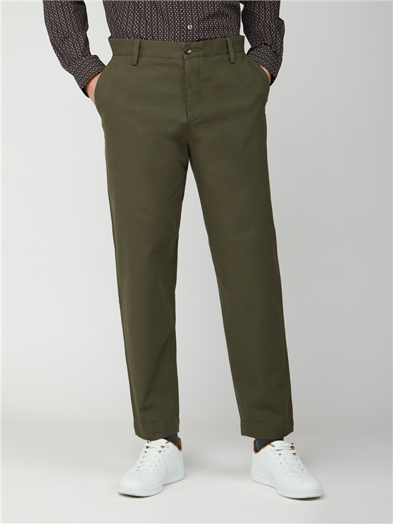 Khaki Relaxed Canvas Trousers