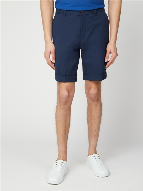 Navy Blue Cotton Chino Shorts
