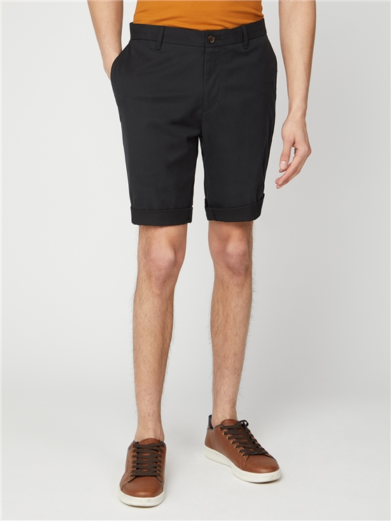 Black Cotton Chino Shorts