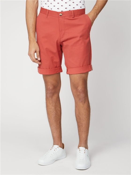 Teracotta Red Cotton Chino Shorts