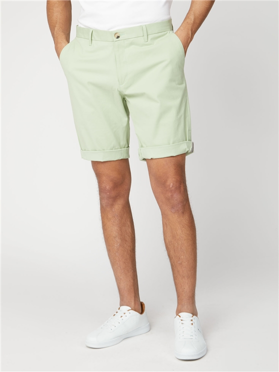 Pale Green Cotton Chino Shorts