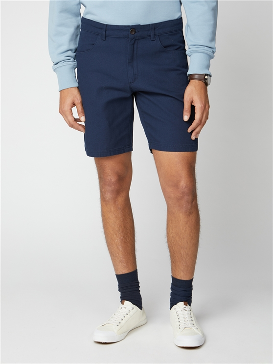 Navy Plain Canvas Shorts