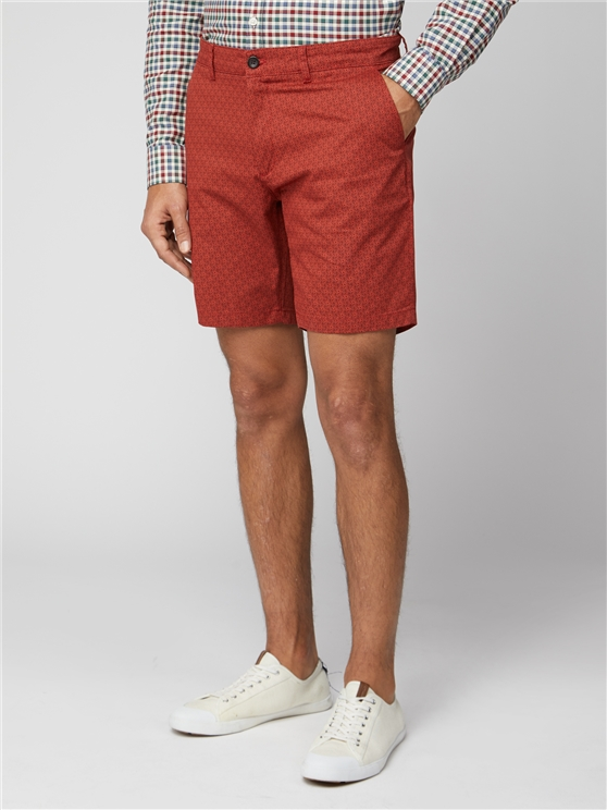 Red Printed Chino Shorts