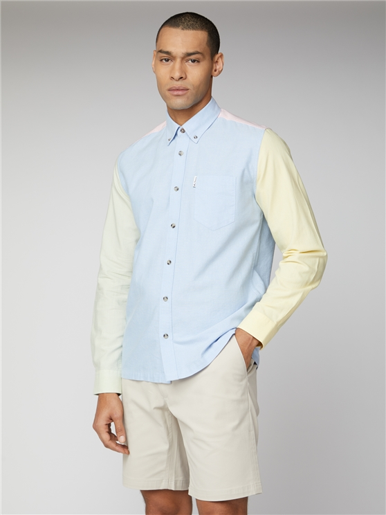 Pastel Blue Colour Block Button Down Oxford Shirt