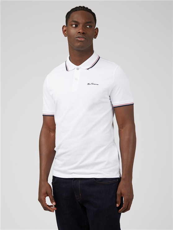 White Organic Signature Polo Shirt
