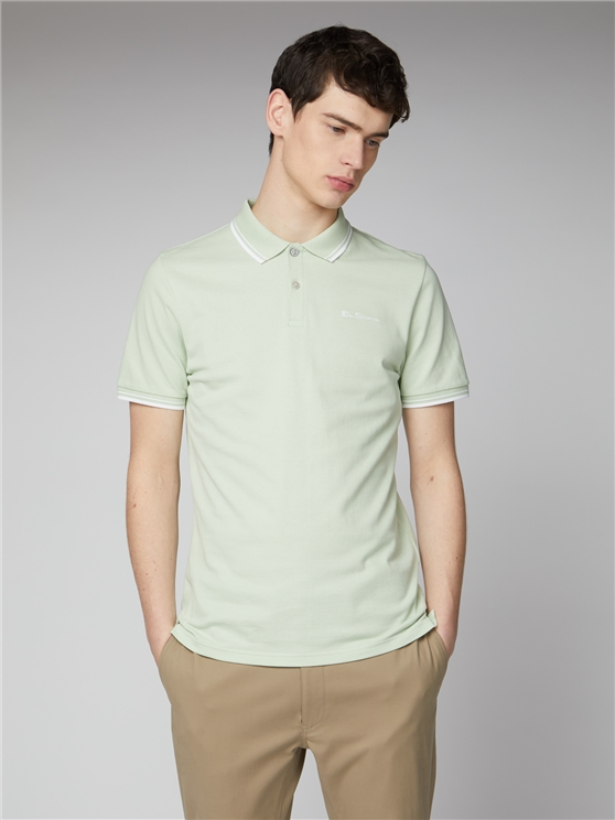 Pale Green Organic Signature Polo Shirt