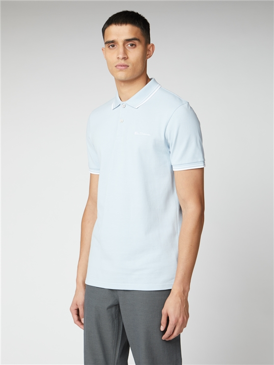 Sky Blue Organic Signature Polo Shirt