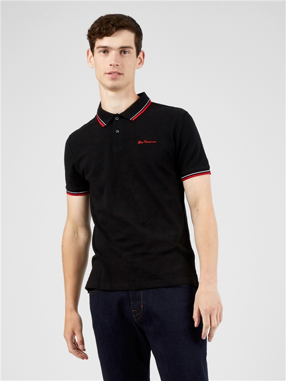 Black Organic Signature Polo Shirt