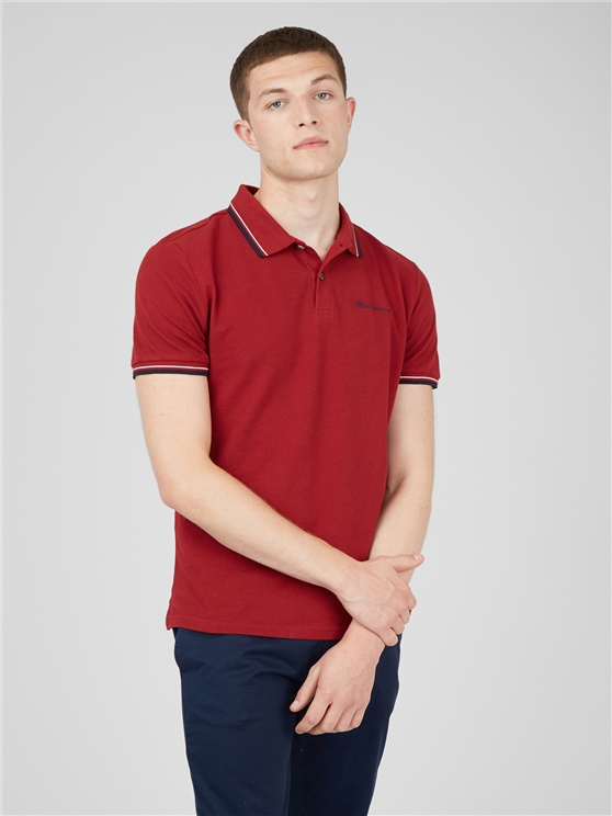 Red Organic Signature Polo Shirt