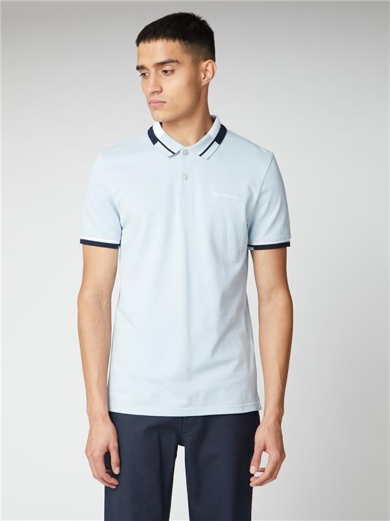 Stripe Collar Pique Polo