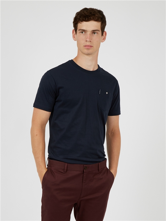 Navy Blue Signature Tee with Chest Pocket