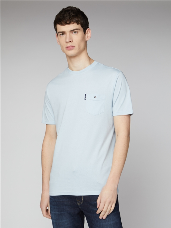 Sky Blue Signature Tee with Chest Pocket
