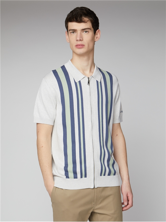 White Textured Stripe Zip Through Polo Shirt
