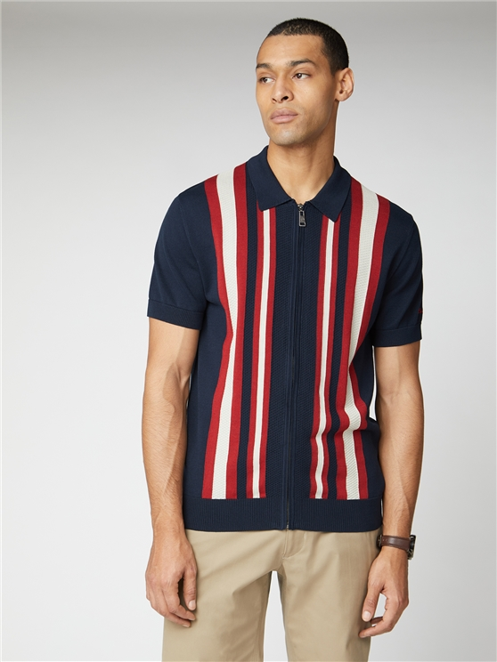 Navy Blue Textured Stripe Zip Through Polo
