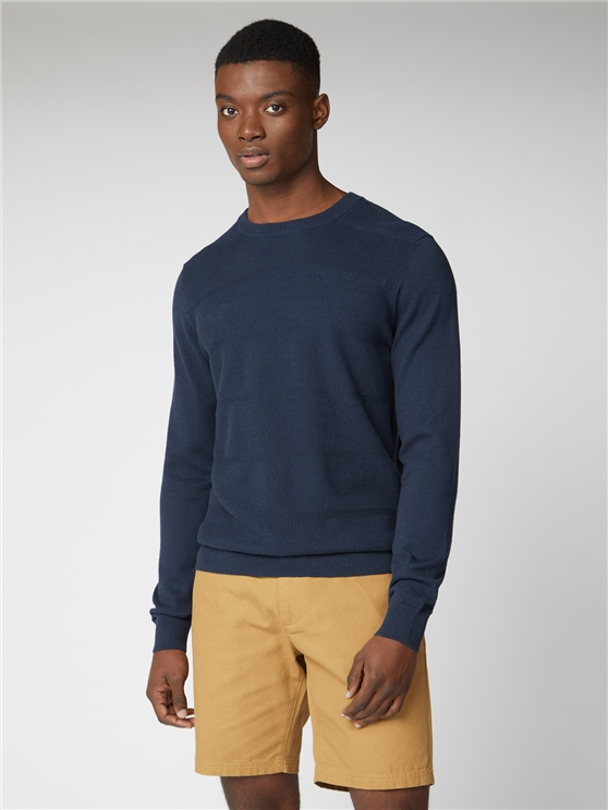 Navy Engineered Textured Stripe Crew Neck Jumper