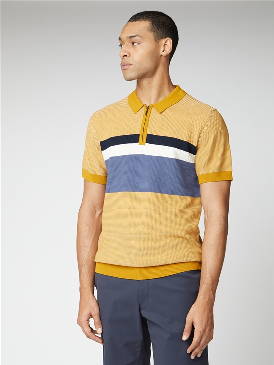 Chest Stripe Zip Knit Polo