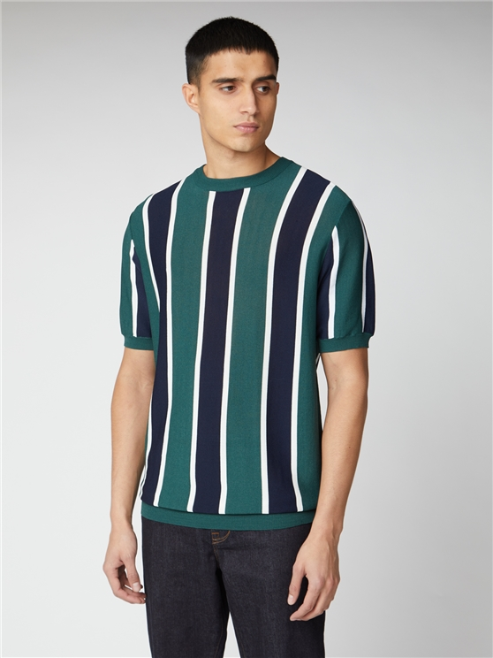 Knitted Vertical Stripe Short Sleeve Crew