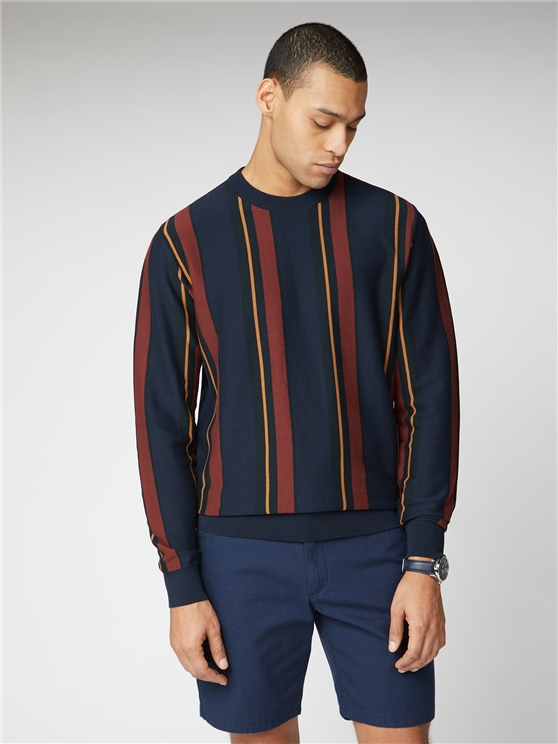 Navy & Red Knitted Mod Stripe Crew