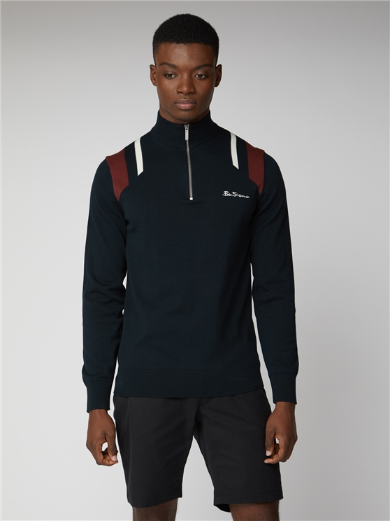 Mod Stripe 1/4 Zip Funnel Neck