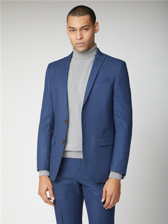 Bright Blue Fleck Slim Fit Suit Jacket