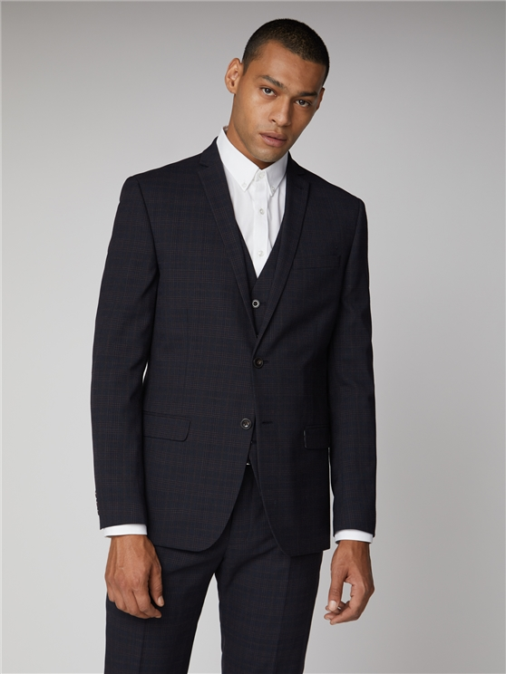 Midnight Rust Textured Check Slim Fit Suit Jacket