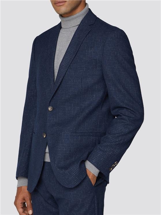 Mid Blue Broken Structure Tailored Fit Suit Jacket