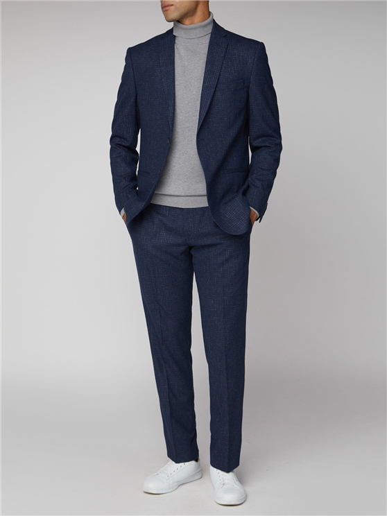 Mid Blue Broken Structure Tailored Fit Suit