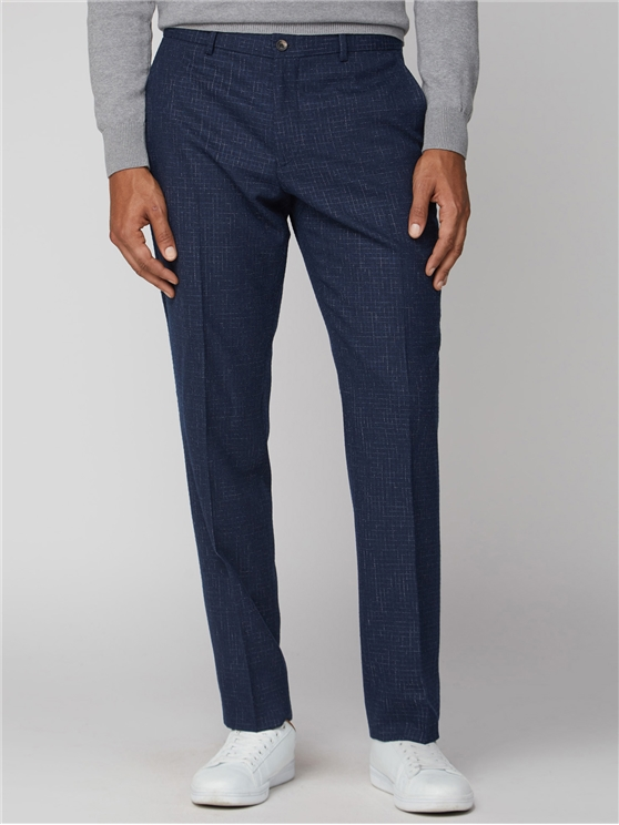 Mid Blue Broken Structure Tailored Fit Suit Trouser
