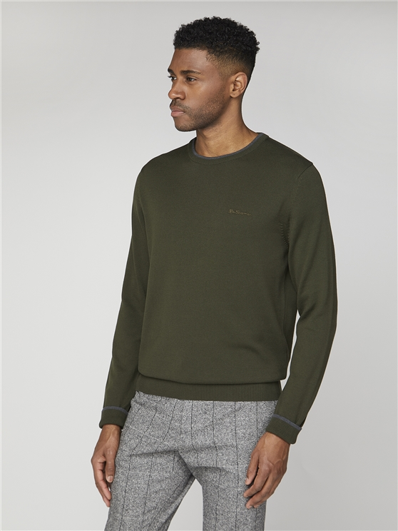 Plain Crew Neck Jumper With Tipping Detail.