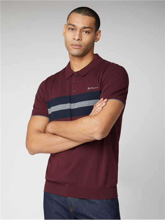 Chest Stripe Short Sleeve Polo Knit Jumper