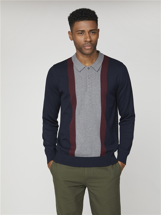Long Sleeve Fancy Polo Knit Jumper