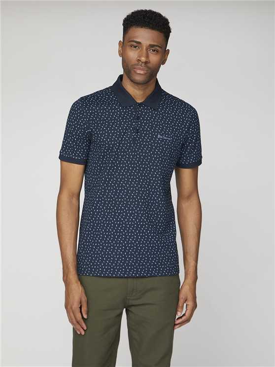Short Sleeve Mini Leaf print Pique Polo